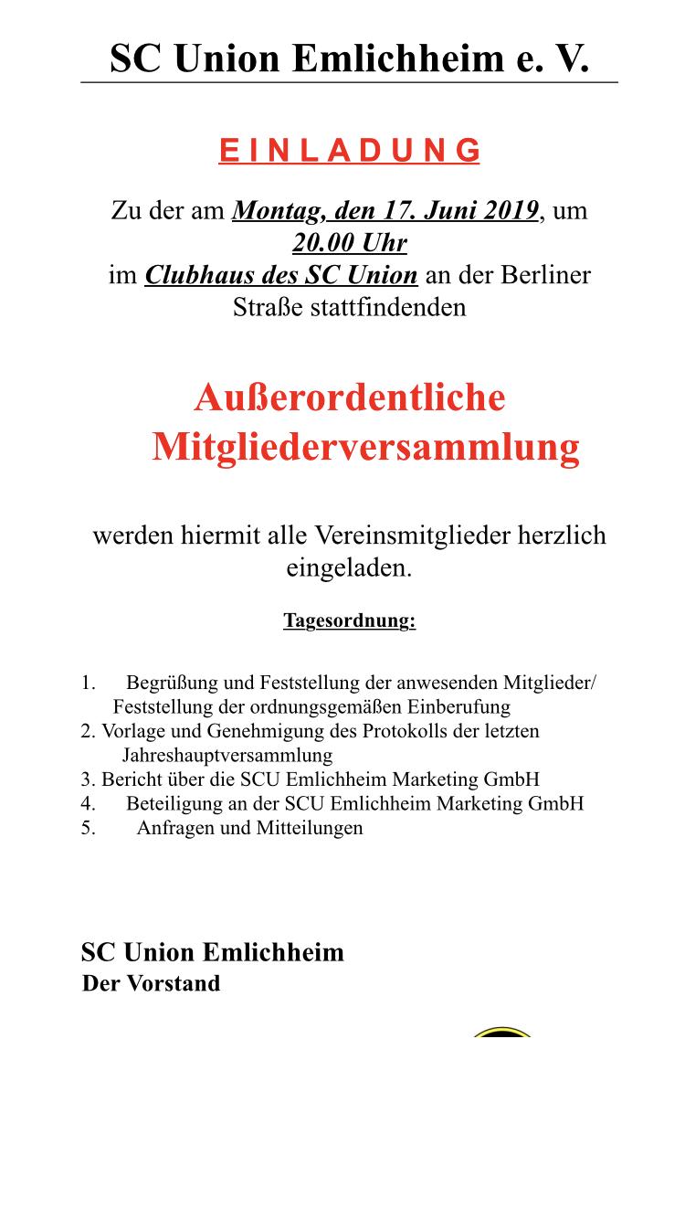 Ausserordentliche Mitgliederversammlung Sc Union Emlichheim Die Offizielle Website Rund Um Den Scu Emlichheim